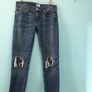 Hudson 'Muse' ripped and repaired skinny jeans